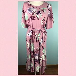 Reborn J Womens 2X NWT Pink Floral Maxi Dress